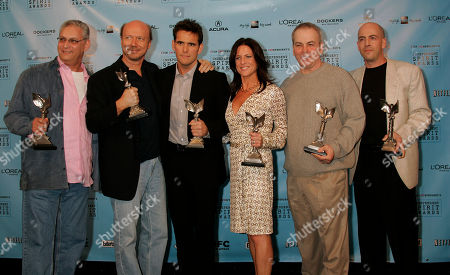 "Mark R. Harris, Bob Yari, Bobby Moresco,Cathy Schulman,Paul Haggis,Matt Dillon Producers Mark R. Harris, left, Bob Yari, right, Bobby Moresco, second from right, and Cathy Schulman stands with director Paul Haggis, second from left and Matt Dillon after the film ""Crash"" won for best first feature at the Independent Spirit Awards, in Santa Monica, Calif. Dillon also won as best male supporting actor"