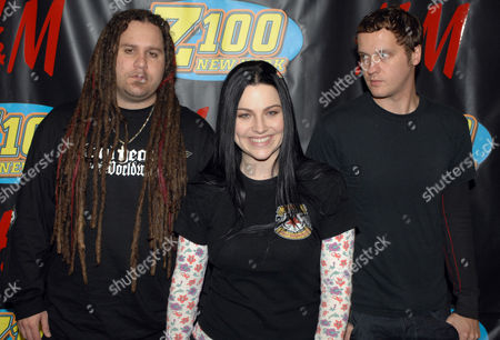 Amy Lee, Terry Balsamo, Tim McCord Terry Balsamo,left, Amy Lee, center, and Tim McCord of Evanescence pose backstage at Z100s Jingle Ball in New Yorks Madison Square Garden
