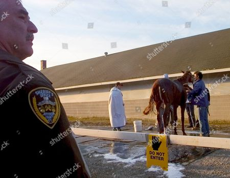 Jefferson County Deputy Sheriff Bobby Fischer keeps a watch as Kentucky Derby entrant Noble Causeway is washed outside trainer Nick Zito's barn at Churchill Downs, in Louisville, Ky. Zito, who is training five Derby entrants, has five deputies assigned to each one of them. Fischer is assigned to Sun King