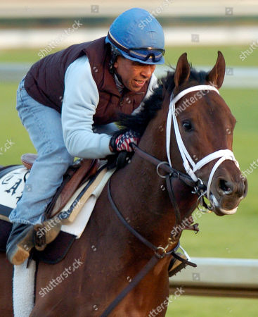 Kentucky Derby entrant Coin Silver, with former jockey Angel Cordero Jr. up, works out along the backstretch at Churchill Downs in Louisville, Ky