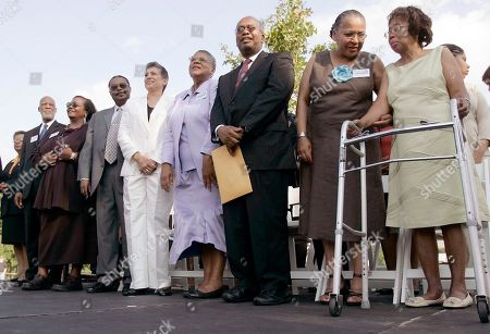 LANIER The Little Rock Nine, from left, Elizabeth Eckford, Dr. Terrence Roberts, Melba Pattillo Beals, Jefferson Thomas, Carlotta Walls LaNier, Minnijean Brown Trickey, Ernest Green, Gloria Ray Karlmark, and Thelma Mothershed-Wair are greeted by a crowd, in Little Rock, Ark. The Nine, who as high school students in 1957 integrated Little Rock Central High School, gathered on the state Capitol grounds Tuesday for the unveiling of a monument marking their battle with Gov. Orval Faubus