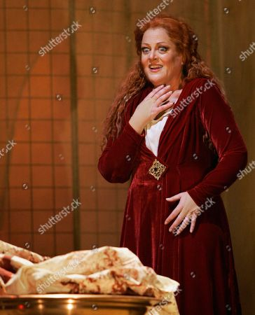 """Deborah Voigt Soprano Deborah Voigt as Salome gazes upon the severed head of John the Baptist during dress rehearsal for the Lyric Opera of Chicago's production of """"Salome"""" by Richard Strauss on"""