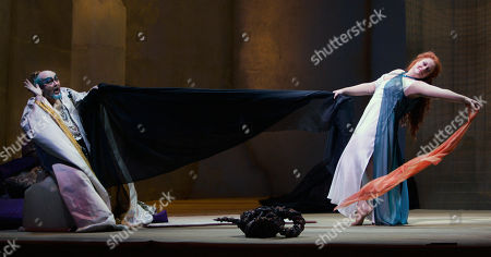 """Deborah Voigt, Kim Begley Soprano Deborah Voigt as Salome performs the """"Dance of the Seven Veils"""" for Herod, played by Kim Begley, during dress rehearsal for the Lyric Opera of Chicago's production of """"Salome"""" by Richard Strauss on"""