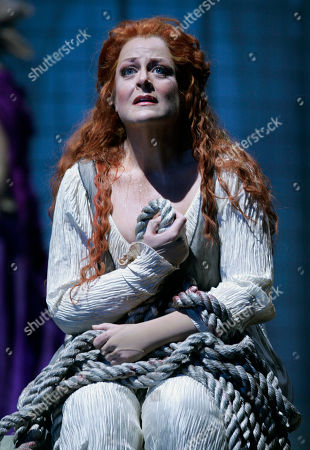 """Deborah Voigt Soprano Deborah Voigt as Salome reflects after being rejected by John the Baptist during dress rehearsal for the Lyric Opera of Chicago's production of """"Salome"""" by Richard Strauss on"""