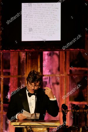 """JANN WENNER Jann Wenner, vice chairman of the Rock & Roll Hall of Fame board of directors, reads a letter from the Sex Pistols refusing to attend their own induction into the Rock & Roll Hall of Fame during ceremonies, in New York. The British band, which featured lead singer Johnny Rotten and late bassist Sid Vicious, said in a hand-written note posted on its website that the hall was like """"urine in wine"""" selling """"old famous"""": """"Were not coming. Were not your monkeys and so what"""