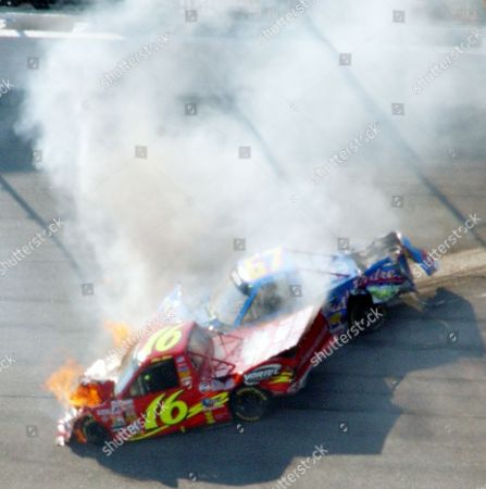 NASCAR ATLANTA Mike Bliss, in the No. 16 Chevy Trucks Chevrolet, bursts into flames as it impacts Steve Park, in the No. 67 South Padre Island Toyota during running of the EasyCare Vehicle Service Contracts 200 at Atlanta Motor Speedway in Hampton, Ga