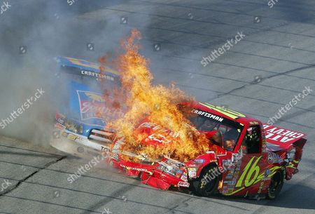 BLISS PARK The truck of Mike Bliss (16) bursts into flames after a collision with the truck of Steve Park during the NASCAR Craftsman Truck Series' EasyCare Vehicle Service Contracts 200 at Atlanta Motor Speedway in Hampton, Ga., on