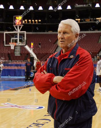 Stock Picture of LUTE OLSON Arizona coach Lute Olson watches during practice for their NCAA first round college basketball game, in Philadelphia. Arizona plays Wisconsin on Friday