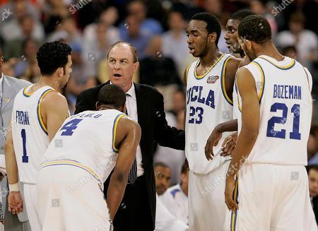 BOZEMAN UCLA head coach Ben Howland talks to his players, from left, Jordan Farmar (1), Arron Afflalo (4), Luc Richard Mbah a Moute (23) and Cedric Bozeman (21) during the second half of the Bruins' 73-57 loss to Florida in the Final Four national championship basketball game in Indianapolis