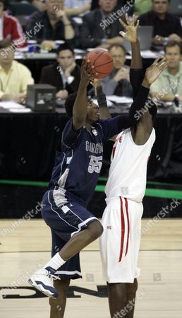 Georgetowns' Roy Hibbert takes shot at the basket in a Final Four semifinal basketball game against Ohio State at the Georgia Dome in Atlanta