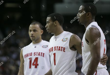 Ron Lewis; Mike Conley Jr.; Jamar Butler Ohio State player, from left, Jamar Butler, Mike Conley Jr., and Ron Lewis at a Final Four semifinal basketball game against Georgetown at the Georgia Dome in Atlanta
