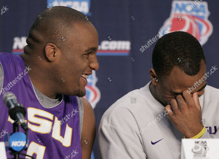 MITCHELL Louisiana State's Glen Davis, left, and Darrel Mitchell laugh during a news conference, in Jacksonville, Fla. LSU beat Iona 80-64 Thursday in the first round of the NCAA basketball tournament