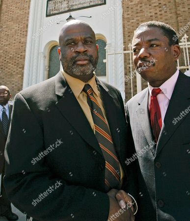 "Christopher Darden, Carl Douglas Attorney Christopher Darden, a former prosecutor in the O.J. Simpson case, left, shakes hands with attorney Carl Douglas, a member of the Simpson defense ""Dream Team,"" at a memorial service for attorney Johnnie L. Cochran Jr. outside the Second Baptist Church in Los Angeles. After the trail Darden became a defense attorney and now has a thriving practice. He wrote a memoir of the trial and has also published several mystery novels"