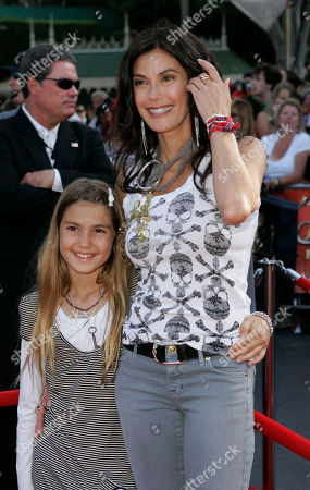 """Teri Hatcher Actress Teri Hatcher and daughter Emerson Rose Tenney poses for photographers at the film premiere of """"Pirates of the Caribbean: At World's End,"""" at the Disneyland theme park in Anaheim, Calif"""