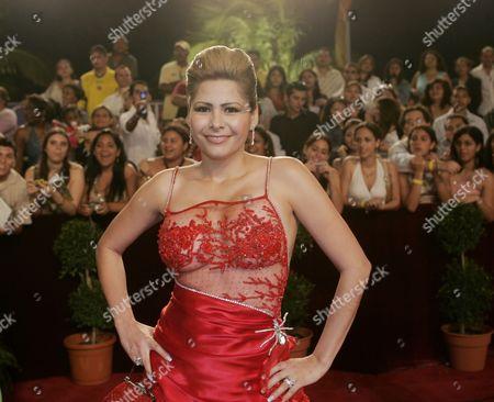 JARA Mexican singer Carmen Jara, poses on the red carpet before the Premio Lo Nuestro Latin music awards ceremony in Miami