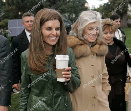 """Maria Shriver, Eunice Shriver, Mildred Baena Maria Shriver, left, wife of California Gov. Arnold Schwarzenegger, her mother, Eunice Kennedy Shriver, center and family housekeeper Mildred Baena, right, leave Capitol Park in Sacramento, Calif. In an interview with """"60 minutes"""" that is scheduled to air Sunday, Schwarzenegger says the affair he had with Baena, that led to a son, was """"the stupidest thing"""", he ever did to then wife Maria Shriver who filed for divorce last July"""