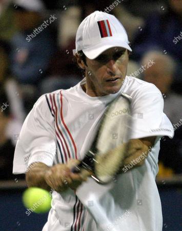SPADEA Vince Spadea sends a return to James Blake, at the Tennis Channel Open in Scottsdale, Ariz. Spadea won 7-6 (6), 6-1