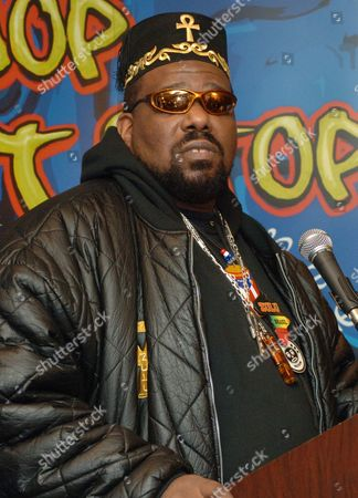 """Afrika Bambaataa speaks at a news conference to launch """"Hip-Hop Won't Stop: The Beat, The Rhymes, The Life,"""" the first ever hip-hop initiative at the Smithsonian's National Museum of American History in New York, . The multi-year project will trace hip-hop from its origins in the 1970's to its status today"""