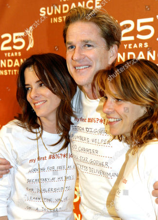 Stock Photo of TAYLOR Matthew Modine poses for photographers with Parker Posey, left, and Lili Taylor, right, during arrivals at a Sundance Institute celebration in New York, . Celebrity guests wore t-shirts stating what their first paying job was, at the event which is celebrating the 25th anniversary of the Sundance Institute