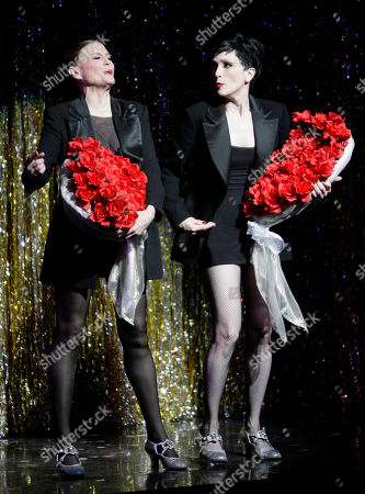 """Bebe Neuwirth, Ann Reinking Choreographer Ann Reinking, left, and Bebe Neuwirth perform during a dress rehearsal for Chicago's 10th Anniversary show in New York. The matinee performance on Aug. 27, 2011 will mark the musical's 6,138 show, meaning it vaults over """"A Chorus Line"""" to become the fourth longest-running show in Broadway history"""