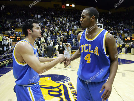 AFFLALO FARMAR UCLA's Arron Afflalo, right, and Jordan Farmar congratulate one another at the end of UCLA's 67-58 win over California in a college basketball game in Berkeley, Calif. on . UCLA clinched at least a share of the Pac-10 title