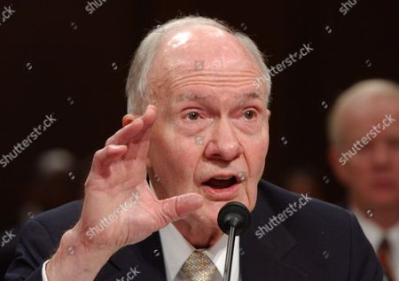Stock Image of Brent Scowcroft Former National Security Adviser Brent Scowcroft testifies on Capitol Hill in Washington, before the Senate Foreign Relations Committee hearing on options in Iraq