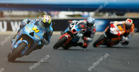 Chris Vermeulen, Kenny Roberts Jr., Nicky Hayden Chris Vermeulen, of Australia, left, followed Kenny Roberts Jr., center, and Nicky Hayden, both from United States, come out of turn 11 during the Red Bull U.S. Grand Prix Moto GP race at the Laguna Seca Raceway in Monterey, Calif. on
