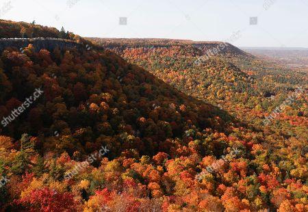 Autumn colors blanket the Helderberg Escarpment at John Boyd Thacher State Park., in Voorheesville, N.Y