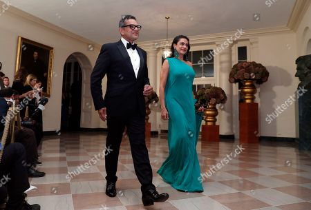 Naime Kahn Fashion Designer Naeem Khan, and his wife Ranjana Khan arrive for a state dinner at the White House for Italian Prime Minister Matteo Renzi, in Washington