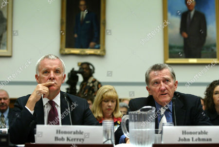 KERREY LEHMAN Commissioners of the 9-11 Commission, former Sen. Bob Kerrey, left, and John F. Lehman testify to the House of Representatives Government Reform Committee on Capitol Hill to the recommendations of their panel, in Washington