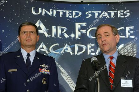 ROSA GILMORE Air Force Lt. Gen. John Rosa, left, superintendent of the Air Force Academy, and former Virginia Gov. Jim Gilmore, who heads the academy's oversight board, address the media on the actions taken as a result of the recent cheating scandal at the school, at Air Force Academy, Colo