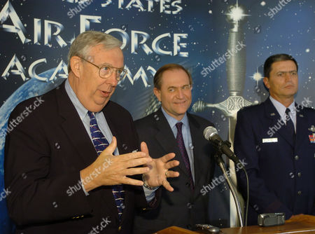 ROCHE GILMORE ROSA Dr. James Roche, left, secretary of the Air Force, makes a point during a press conference, at Air Force Academy, Colo. Lt. Gen. John Rosa, right, superintendent of the Air Force Academy, and former Virginia Gov. Jim Gilmore, who heads the academy's Board of Visitors oversight panel, look on. The secretary addressed the investigation surrounding the class of 2007 cheating scandal, following a meeting Saturday morning of the Board of Visitors