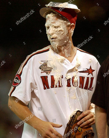 MAYNE ESPN anchor Kenny Mayne stands on the field after a pie was put in his face after the All Star Legends & Celebrity softball game in Houston
