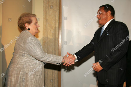 GLADSTONE CHRISTIE, ALBRIGHT Bahamian Prime Minister Perry Gladstone Christie, right, is greeted by former U.S. Secretary of State Madeleine Albright at a luncheon during the Miami Herald Americas Conference at the Biltmore Hotel, in Coral Gables, Fla