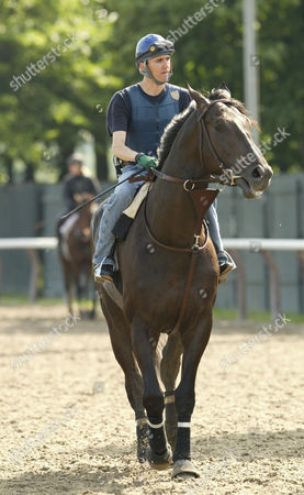 BYRNE Rock Hard Ten with exercise rider and jockey John Byrne aboard, trots back to the barn after a light workout, at Belmont Race Track in Elmont, N.Y. The horse is one of only a few expected to be a contender in Saturday's Belmont Stakes race, for which undefeated Smarty Jones is the favorite
