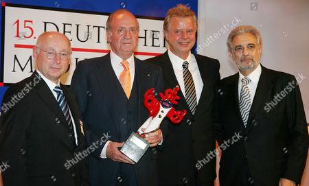 Stefan Aust, King Juan Carlos, Karlheinz Kogel and Placido Domingo