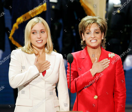 RETTON STRUG Olympic gold medalists Mary Lou Retton, right, and Kerri Strug recite the pledge of allegiance at the Republican National Convention Thursday, Sept.2, 2004, in New York