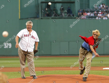 CLARKE LEARY Boston comedians Lenny Clarke, left, and Denis Leary throw out the first pitch prior to the Boston Red Sox game against the Tampa Bay Devil at Fenway Park in Boston