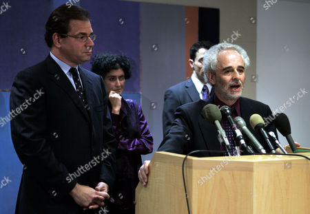 LEWIS LIZAR OLSHANSKY AL-MARITH**Robert Lizar, U.K. attorney for Jamal Al-Harith, right, with Eric Lewis, left, senior partner of the Baach, Robinson & Lewis, and Barbara Olshansky, deputy legal diretor for litigation and movement support for Center for Constitutional Rights, speaks to the press during a press conference, in Washington. Four prisoners released from Guantanamo Bay have filed the first lawsuit against the United States seeking US$10 million each in damages for abuse they allegedly suffered at the U.S. military outpost in Cuba, attorneys said Wednesday