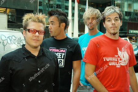 Music group Hoobastank pose outside the Le Parker Meridien hotel in New York, . From left, are Markku Lappalainen, Doug Robb, Chris Hesse and Dan Estrin