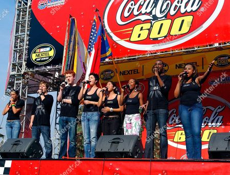 ADAMS American Idol finalists, from left, Camile Velsasco, Jon Peter Lewis, John Stevens, Amy Adams, Jasmine Trias, La Toya London, George Huff, and Jennifer Hudson, perform the national anthem before the start of the NASCAR Coca-Cola 600 at Lowe's Motor Speedway in Concord, N.C