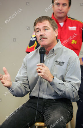 LOOMIS Hendrick Motorsports crew chief for Jeff Gordon, Robbie Loomis, background, looks on as Hendrick Motorsports driver Terry Labonte speaks during a press conference which included drivers and crew chiefs of the Hendrick Motorsports team and drivers Jeff Gordon and Jimmie Johnson at Atlanta Motor Speedway in Hampton, Ga., . They said losing dear friends in last Sunday's plane crash only fueled their drive to win in Atlanta this weekend.The sport was rocked by the plane crash that killed the son, brother and twin nieces of car owner Rick Hendrick. All 10 people aboard were killed, including the general manager of Hendrick Motorsports, the team's chief engine builder, and a pilot for NASCAR driver Tony Stewart