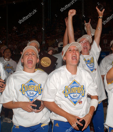 Stock Photo of HENRY SIMPSON HERRERA UCLA players, from left, Tara Henry, Amanda Simpson and Ashley Herrera cheer a fireworks show, after the team won its 10th NCAA softball championship by defeating California 3-1 in the Womens College World Series in Oklahoma City