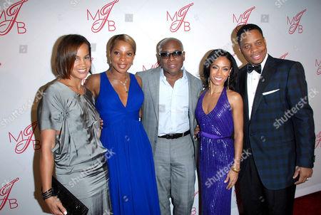 Stock Image of Mary J. Blige, Kendu Isaacs and Jada Pinkett Smith with LA Reid and wife Erica