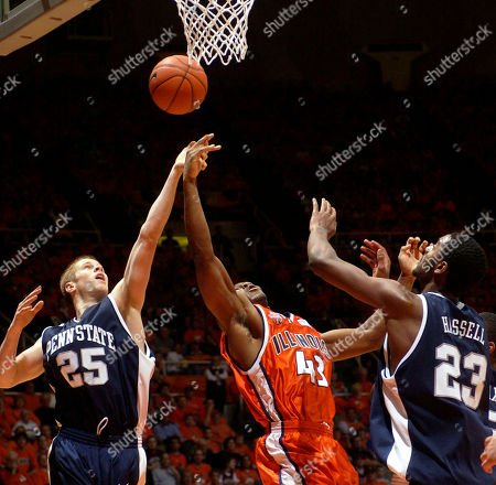 Illinois' Roger Powell (43) fights for a rebound against Penn State's Danny Morrissey (25) and Brandon Hassell during the first half in Champaign, Ill