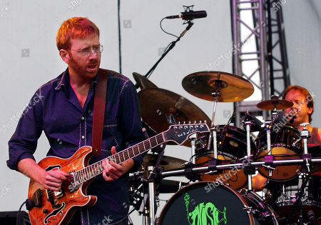 Phish's guitarist Trey Anastasio, left, and drummer Jon Fishman perform with the band at Keyspan Park in the Brooklyn borough of New York