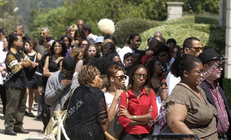 JAMES MEMORIAL Fans wait in line to enter the memorial service for musician Rick James at Forest Lawn in the Hollywood Hills section of Los Angeles, . James died in his sleep last week at his home near Universal City. He was 56