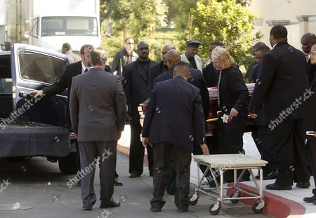 JAMES MEMORIAL Pallbearers carry the body of musician Rick James after a memorial in his honor at Forest Lawn Cemetery in the Hollywood Hills section of Los Angeles on . James died at his home on Aug. 6. He was 56. James, who was born in Buffalo, N.Y., will be buried Saturday in his hometown following a funeral service