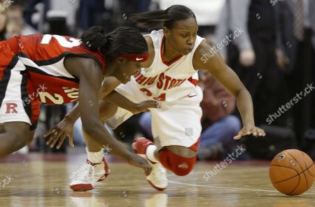 ALLEN AJAVON *{4B78BDDC-76F7-4554-A422-41CE632F3BEC Ohio State's Ashley Allen, right, and Rutgers' Matee Ajavon chase a loose ball during the second half of Ohio State's 52-50 win, in Columbus, Ohio