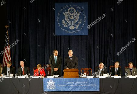"The Sept. 11 commission takes part in its final hearing on in Washington. Left to right are: commissioners Timothy Roemer, Slade Gorton, Jamie Gorelick, Chairman Thomas Kean, Vice Chairman Lee Hamilton, commissioners Fred Fielding, Bob Kerrey, and John Lehman. The report concludes that a ""failure of imagination,"" not government neglect, allowed 19 hijackers to carry the deadlist terrorist attacks in U.S. history"